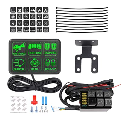 AKD Part 6 Gang Switch Panel Circuit Control Box Universal Electronic Relay System Wiring Harness On Off Button for Jeep SUV ATV UTV Truck Marine: Industrial & Scientific