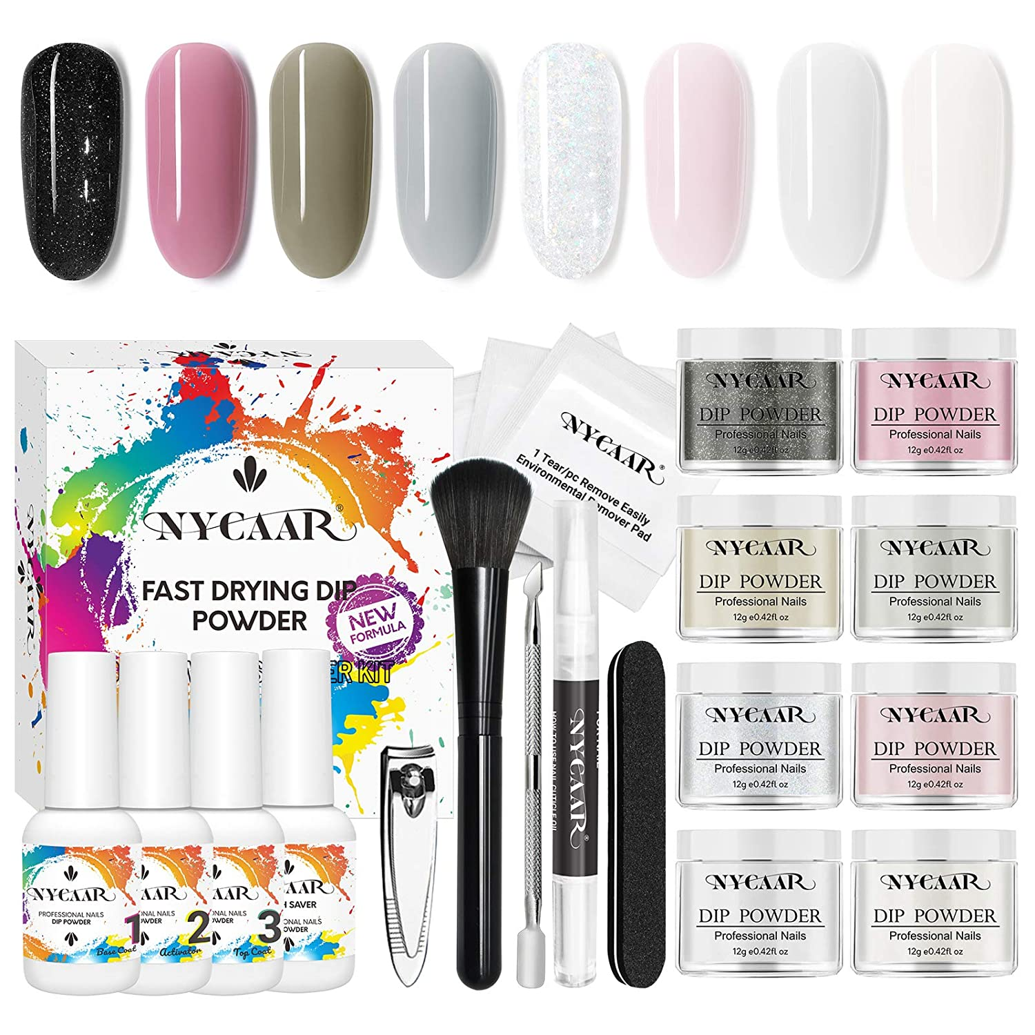 NYCAAR Dip Powder Nail Kit, 8 Colors Glitter Nail Dip Powder Set for Salon or Starter , with Polish Tool Set and Manicure Set at Home Nail Kit, for Mother's Day No Nail Lamp Needed
