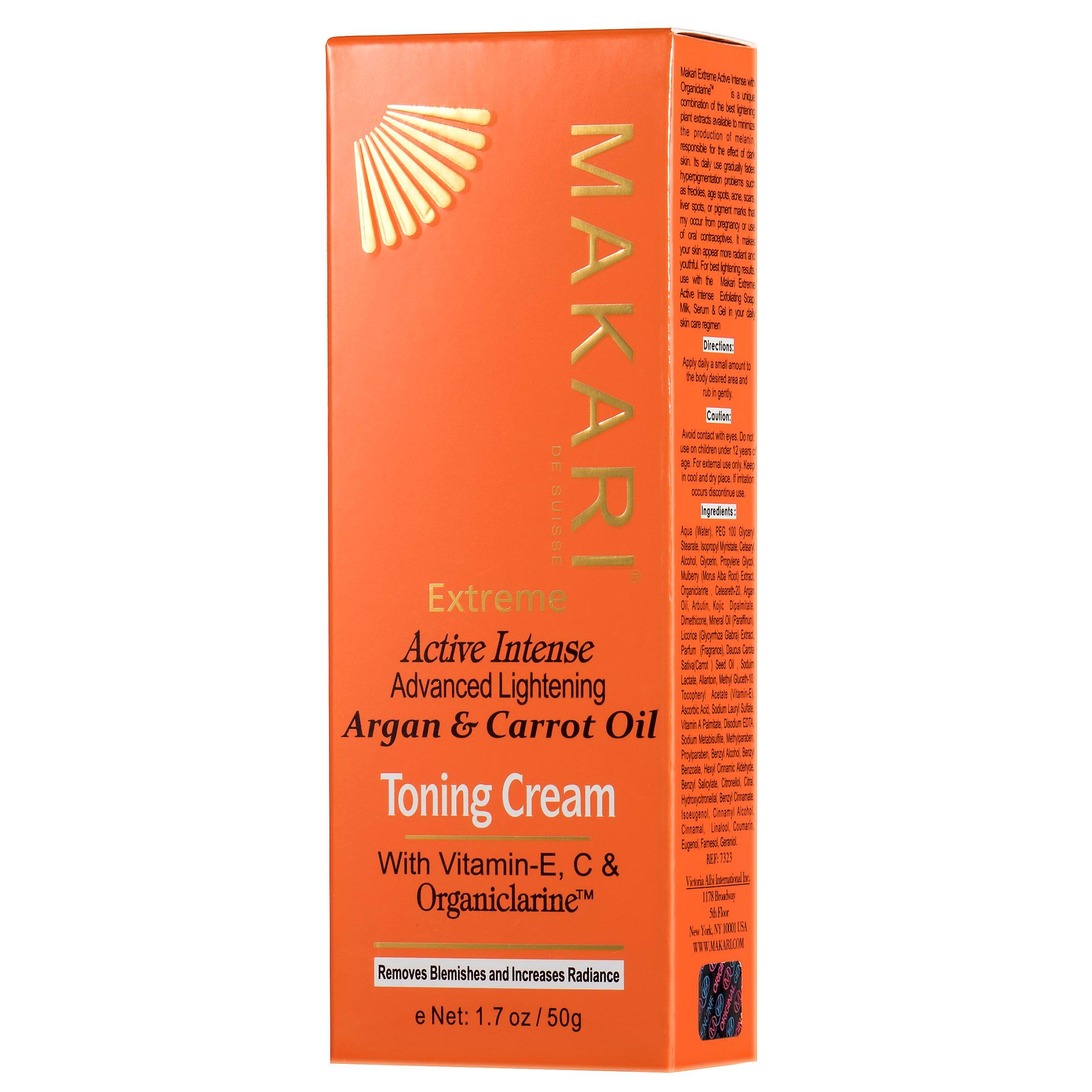 Makari Extreme Carrot & Argan Oil Facial Toning Cream 1.7oz – Lightening, Brightening & Tightening Moisturizer with Organiclarine – Anti-Aging Whitening Treatment for Dark Spots, Acne