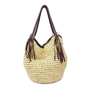 f16a9872e8e93 GSPStyle Damen Stroh Schultertasche Strandtaschen mit Reißverschluss Farbe  Beige