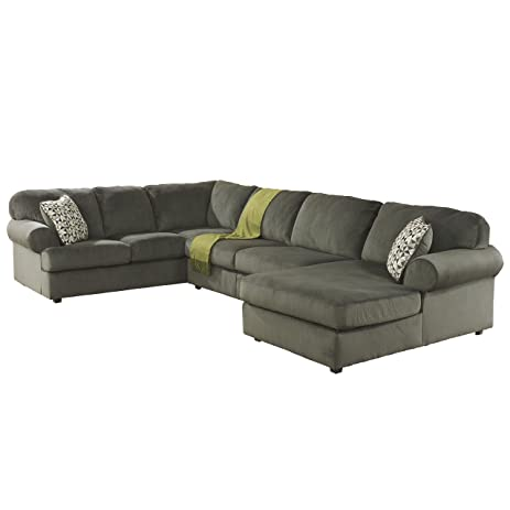 Flash Furniture Signature Design by Ashley Jessa Place Sectional in Pewter Fabric  sc 1 st  Amazon.com : jessa sectional - Sectionals, Sofas & Couches