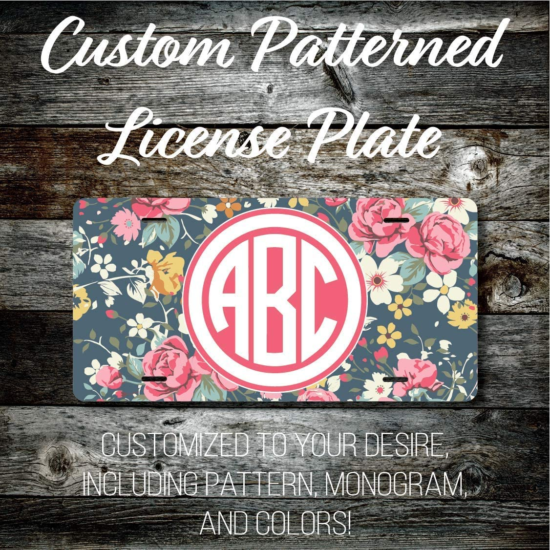 Preppy Patterned Vinyl Triple UV Coated .025 Thick Top Quality Custom Monogrammed License Plate LP265