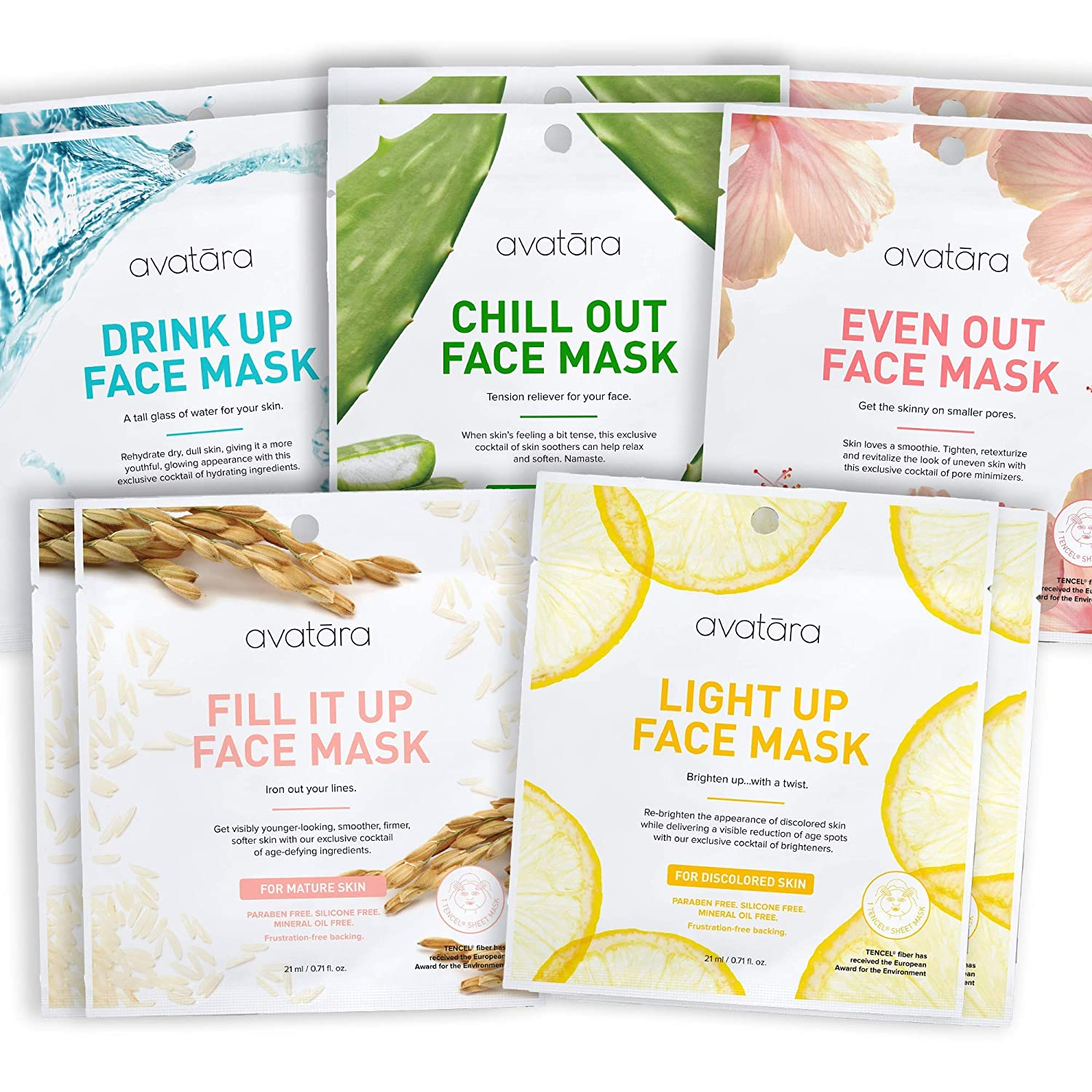 Avatara Facial Face Mask Variety Pack (10 Sheets) - Hydrate, Brighten, Even Out, Relax, Iron Out Fine Lines, Shrink Pores