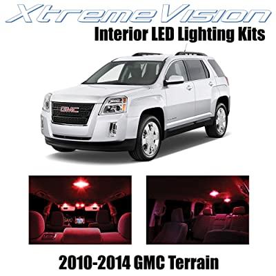 XtremeVision Interior LED for GMC Terrain 2010-2014 (5 Pieces) Red Interior LED Kit + Installation Tool: Automotive