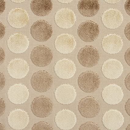 Elastic chouchou in cotton fabric with printed patterns beige with polka dots