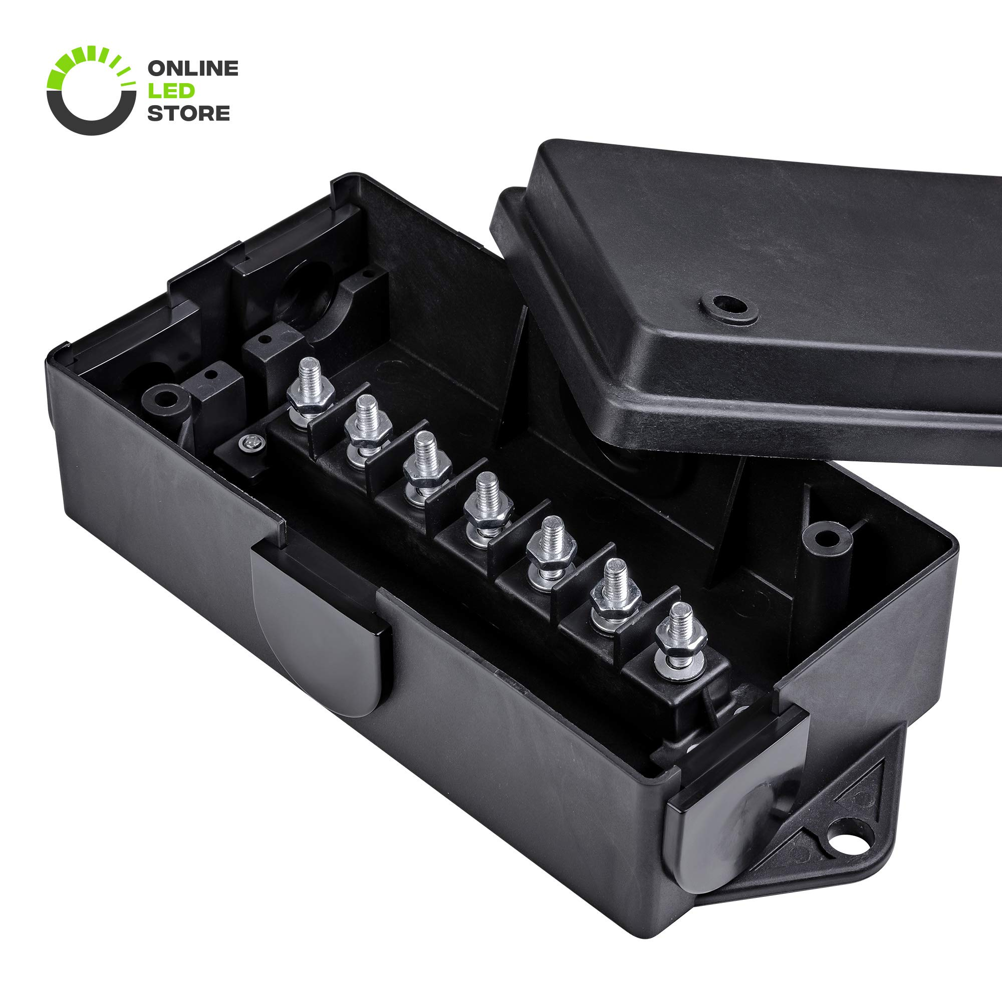 ONLINE LED STORE 7-Port Trailer Wiring Junction Box [Steel Studs] [Stickers Included] [Weatherproof] Trailer Wire/Cable Connection Box by ONLINE LED STORE