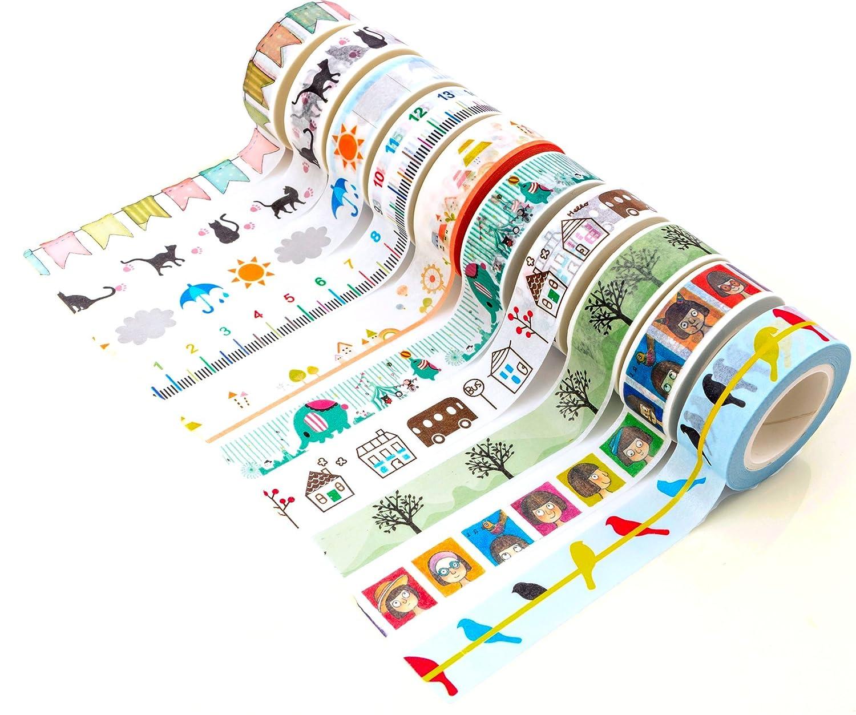 Funny washi tape set of 10 rolls japanese decorative paper for Decorative paper rolls