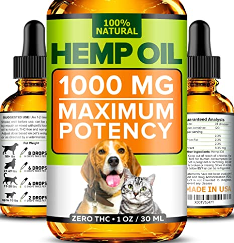 Hemp Oil for Dogs and Cats - 1000mg - Premium Hemp Extract - Advanced  Formula - Grown & Made in USA - Omega 3, 6 & 9 - Supports Hip & Joint  Health,