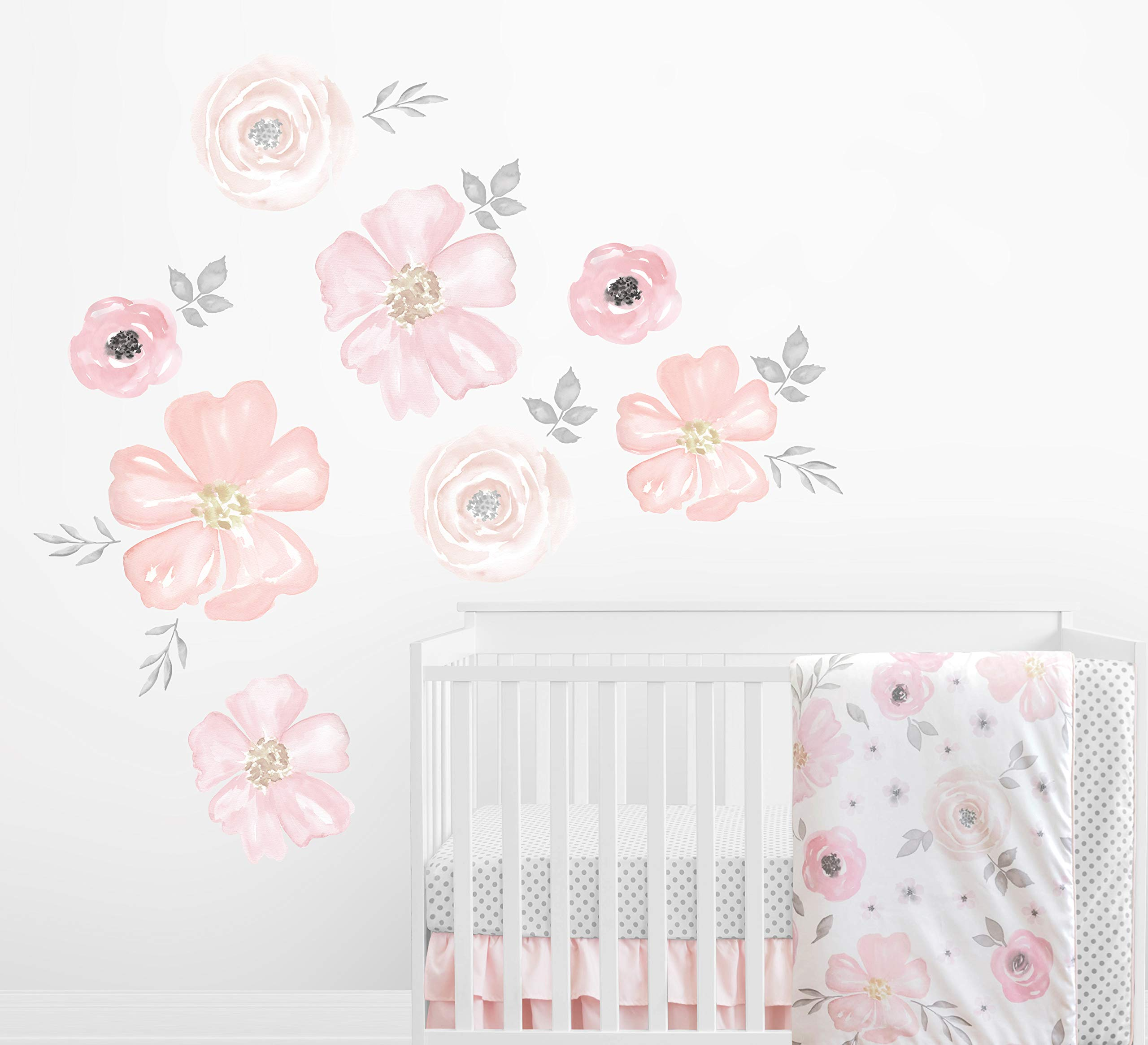 Sweet Jojo Designs Blush Pink, Grey and White Large Peel and Stick Wall Mural Decal Stickers Art Nursery Decor for Watercolor Floral Collection - Set of 2 Sheets by Sweet Jojo Designs