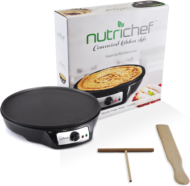 Blintzes /& Eggs SW603P J-JATI Crepe Maker-Nonstick 14 Inch Hot Plate Cook top Batter Spreader /& 2 Wooden Utensils.Used Also For Pancakes Adjustable Temperature Control