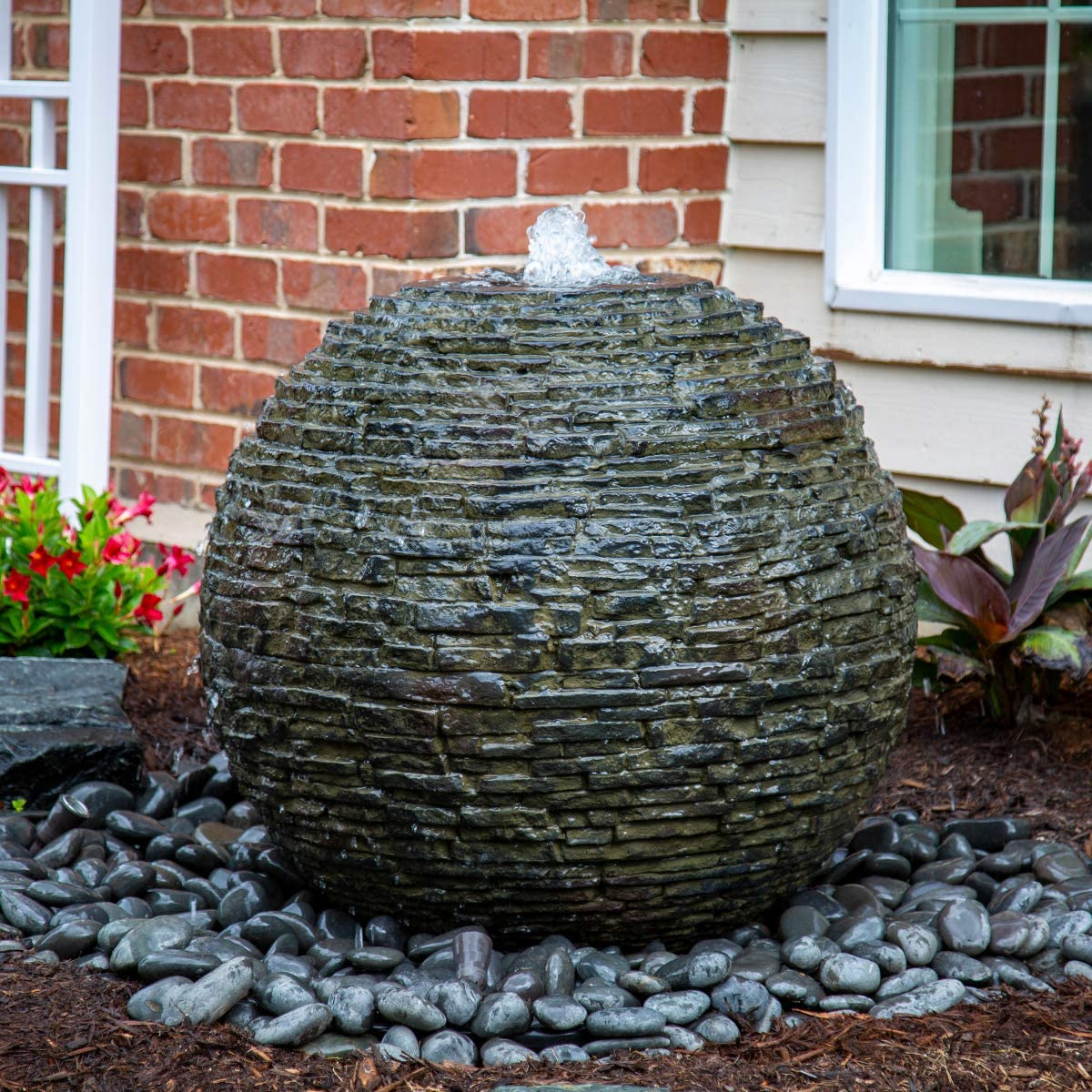 Amazon.com : Aquascape Stacked Slate Sphere Water Fountain for ...