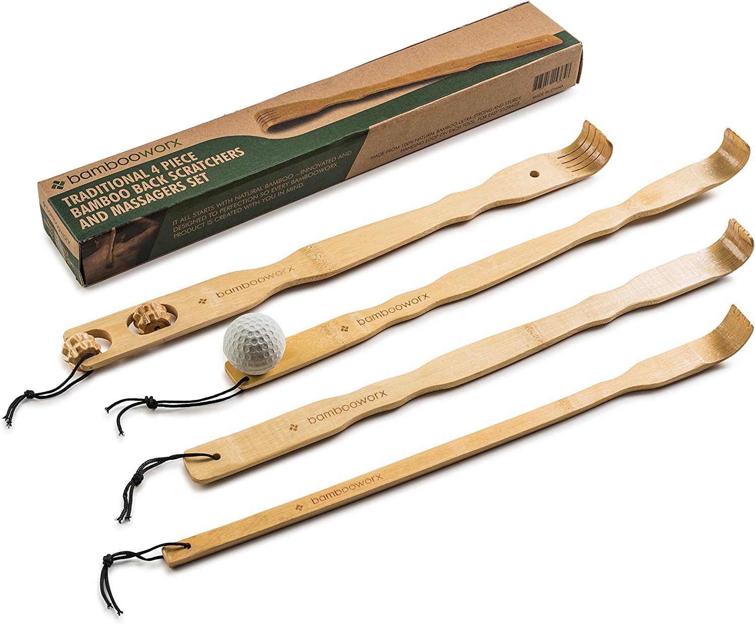 """BambooWorx 4 Piece Traditional Back Scratcher and Body Relaxation Massager Set for Itching Relief, 17.5"""", Strong and Sturdy, 100% Natural Bamboo"""