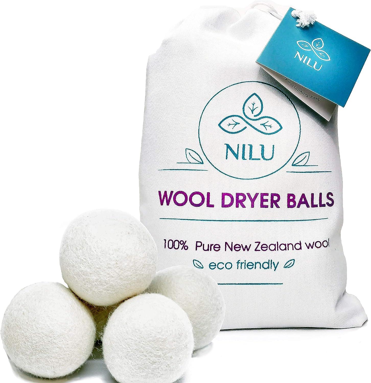 Nilu Wool Dryer Balls, Organic&Natural Reusable Fabric Softener, Chemical Free, Reduce Wrinkles, Anti Static, Premium 100% New Zealand Wool, 6-Pack XL.