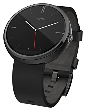 Motorola Moto 360 - Black Leather Smart Watch(Versin EE.UU ...