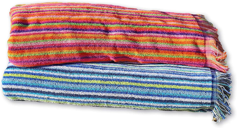 Secaneta Pack 2 Toallas Playa con Flecos de 100x170 cm, Tejido Algodón 100%, Mikonos, Multicolor, 100 x 170 cm: Amazon.es: Hogar