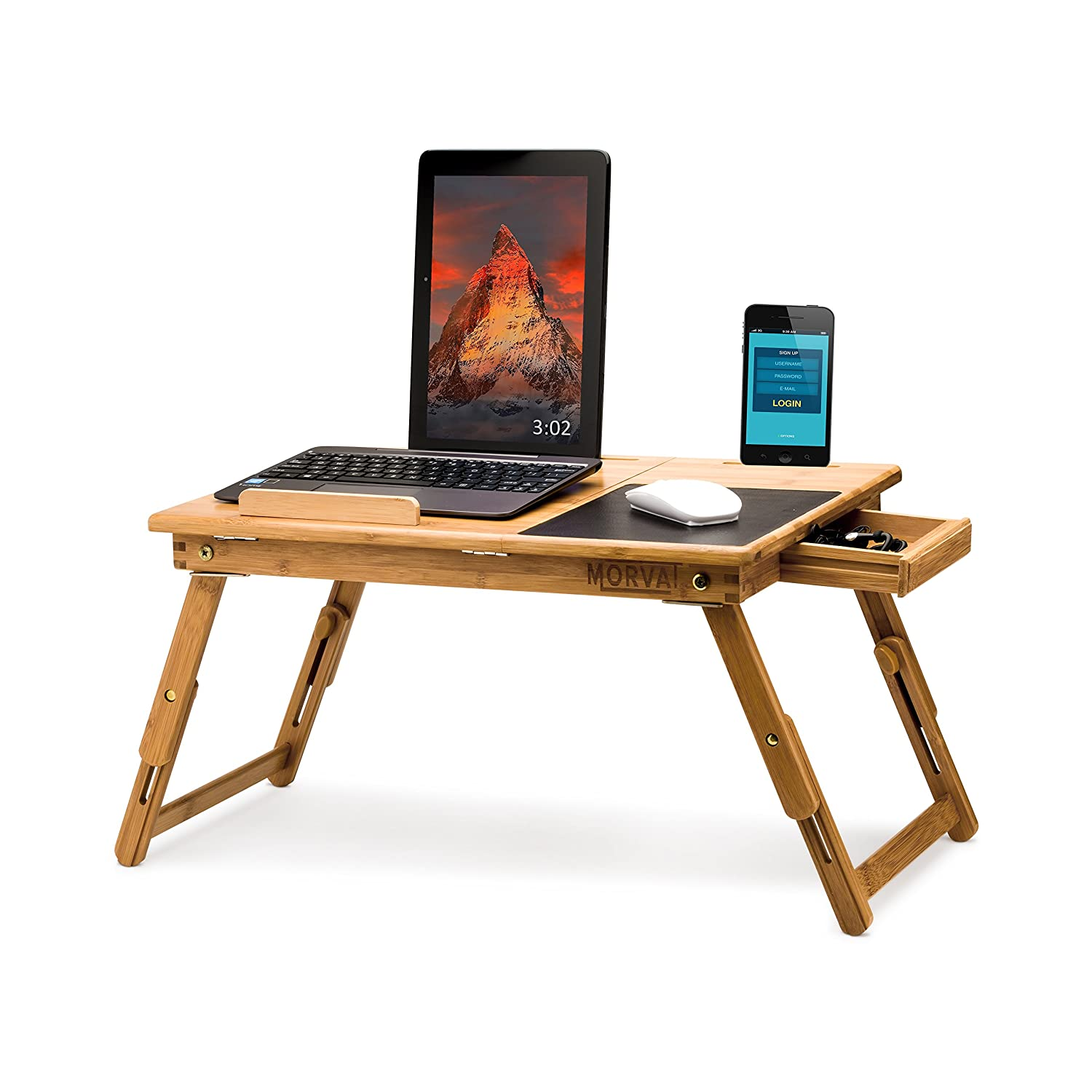 Adjustable Bamboo Lap Desk by MORVAT with Built in Mouse Pad | Can be Used as Riser or Lap Desk for Laptop or Tablet | The Most Convenient Way to Work and Play | Adults and Kids