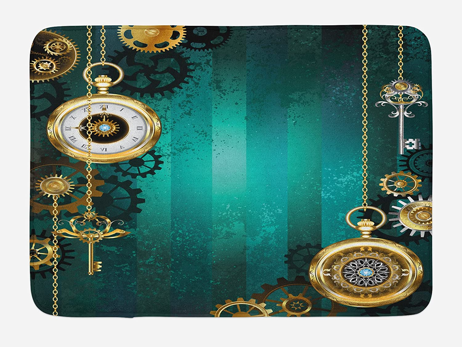 Ambesonne Industrial Bath Mat, Antique Items Watches Keys and Chains with  Steampunk Influences Illustration, Plush Bathroom Decor Mat with Non Slip