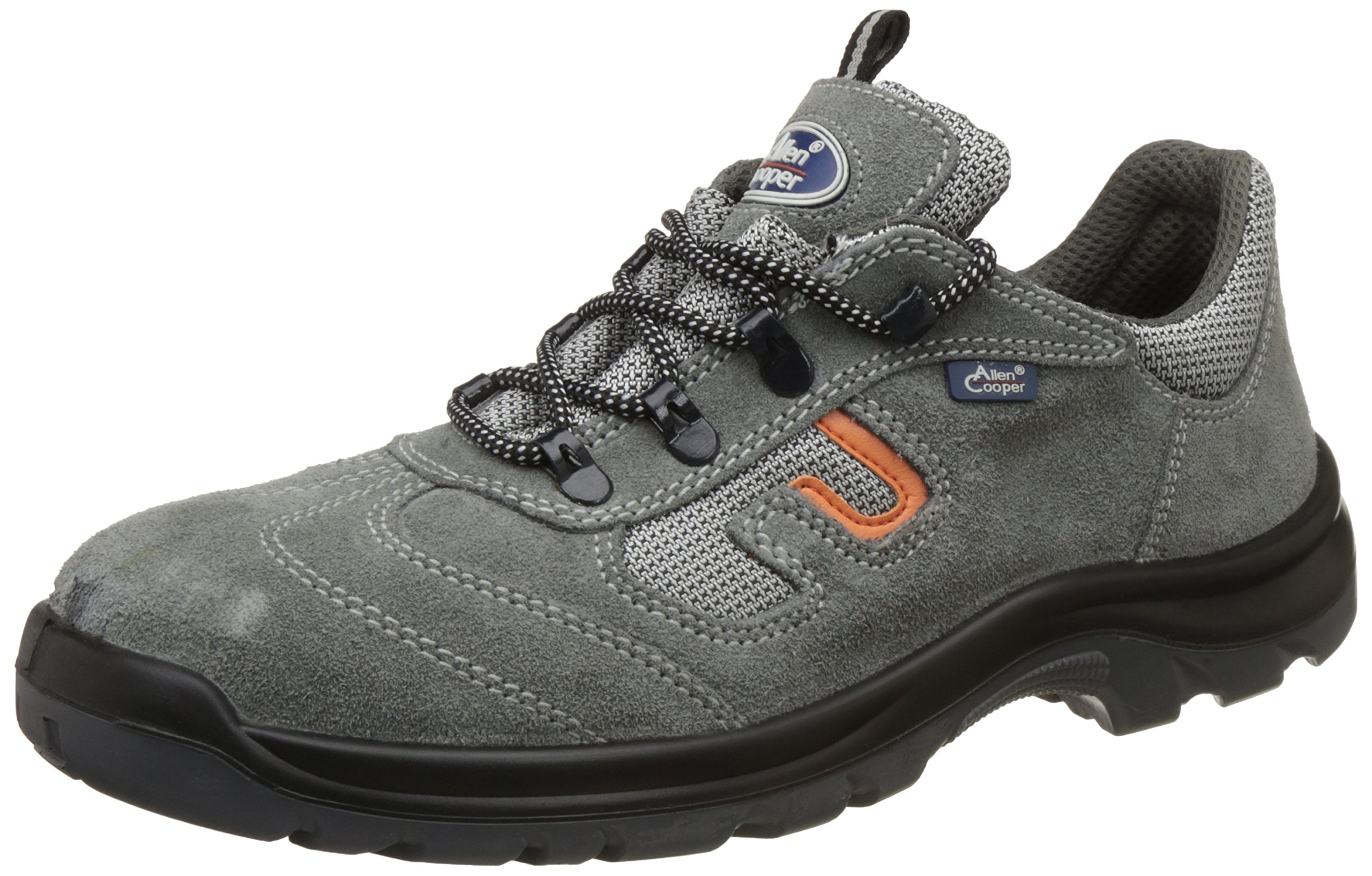Allen Cooper AC-1459 Safety Shoe, Double Density DIP-PU Sole, Grey, Size 10