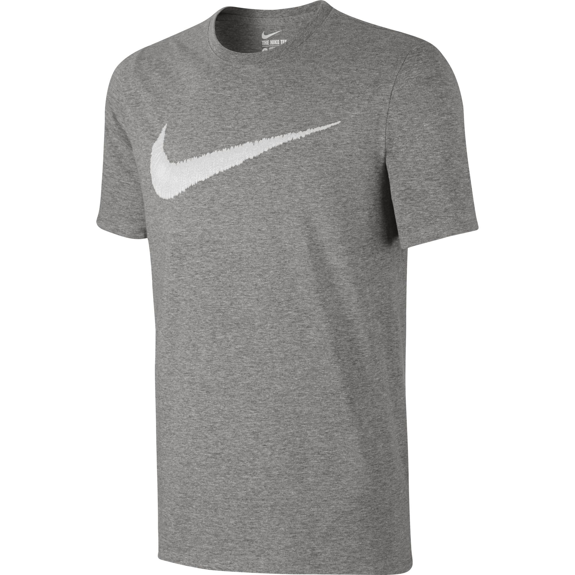 NIKE Sportswear Men's Hangtag Swoosh Tee, Dark Grey Heather/White, Small