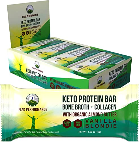 Keto Bars – Grass Fed Collagen Bone Broth with Organic Almond Butter. 12 Pack. Keto Protein Bar Snacks. No Gluten or Added Sugar. 4 Delicious Flavors Keto Paleo Perfect Snack Bar Vanilla Blondie