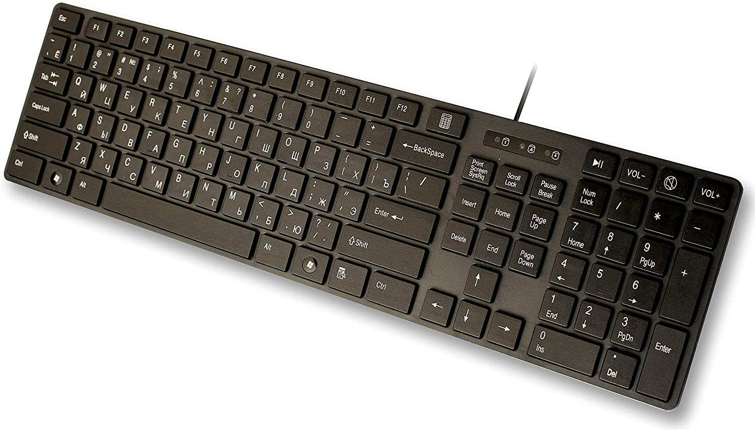 USB Keyboard with Russian English (Cyrillic) Letters/Characters- Full Size Slim Desktop Design