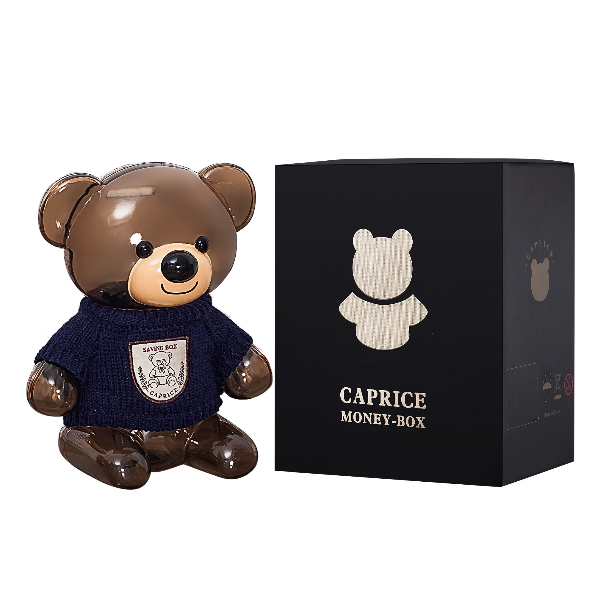 Msicyness Classic Bear Piggy Bank - Cute Cartoon Saving Box for Kids Mini ATM with Knit Clothes Decor Coin Toy Banks Save Pot Money Boxes(Transparent)