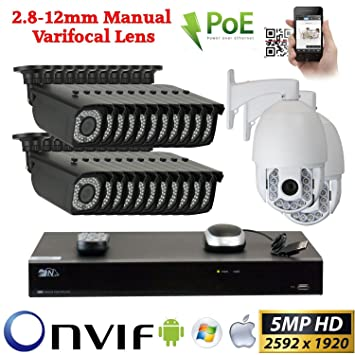 Amazon.com: GW 24 H.265 PoE IP CCTV Kit: (22) 5 MP cámara 5 ...