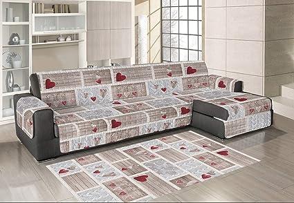 Sofá con chaise longue acolchado + Alfombra 110 x 60 ...