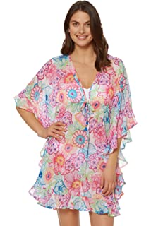 dba9e571cb Amazon.com: Bleu Rod Beattie Women's Open Front Ruffle Caftan Cover ...