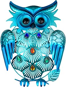 SVEIKS Metal Owl Wall Decor Hanging for Indoors or Outdoors (Blue)