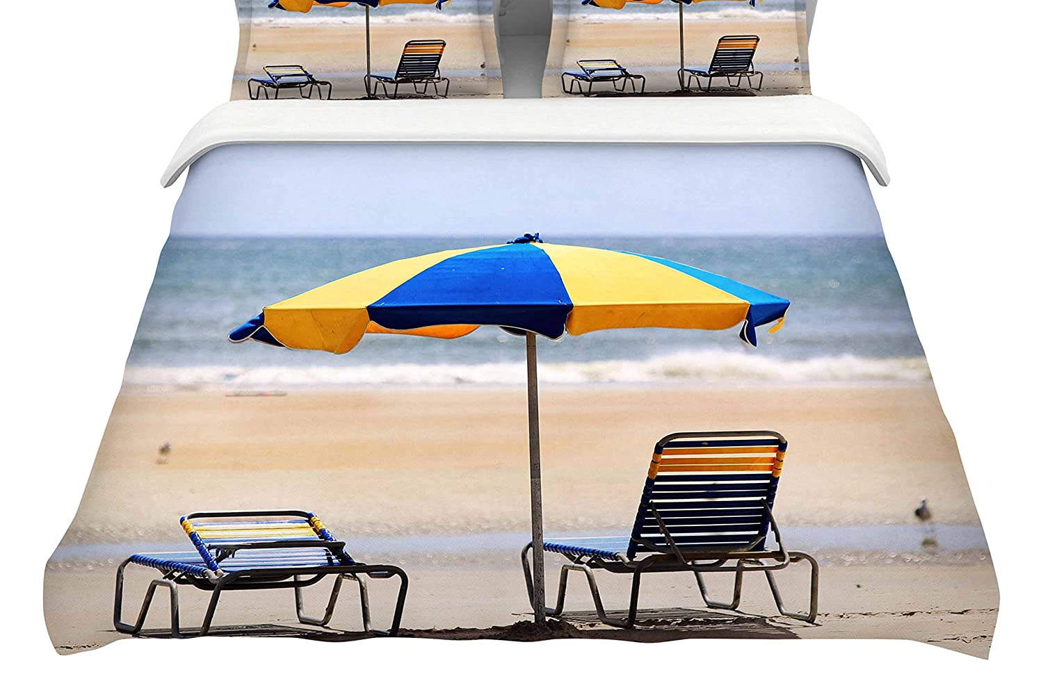 Kess InHouse Angie Turner Blue and Yellow Umbrella Featherweight Queen Duvet Cover, 88 x 88,