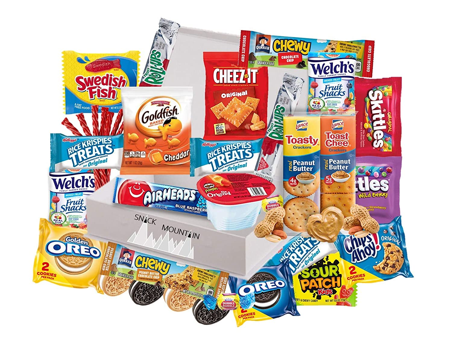 Snack Mountain Care Package (25 Count) Cookies Chewy Granola Bar Candy Chips Variety Gift Bundle Mix College Students Holiday Assortment Basket