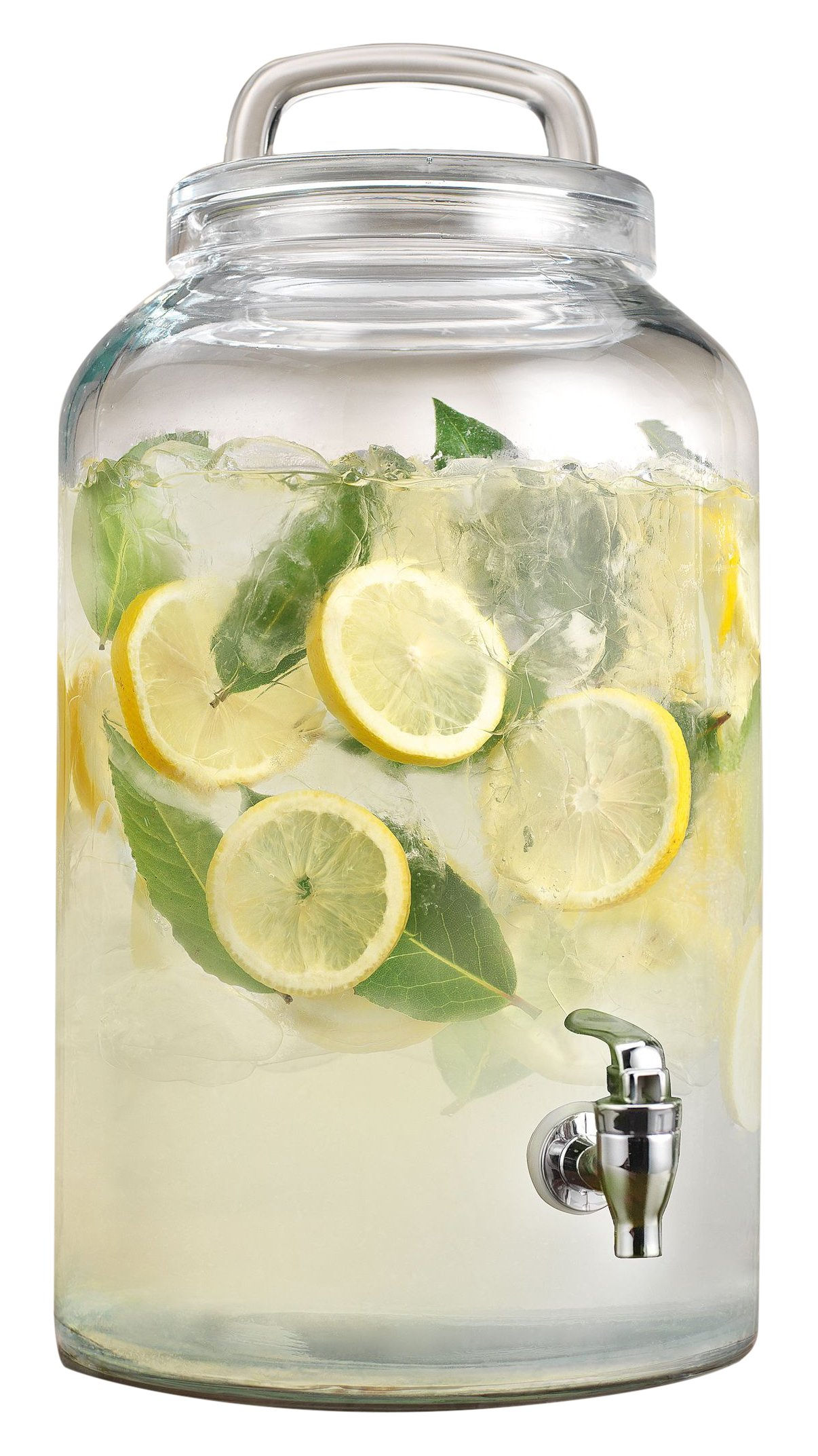Home Essentials & Beyond 2.25 gallon Heritage Loop Lid Beverage Dispenser, Clear