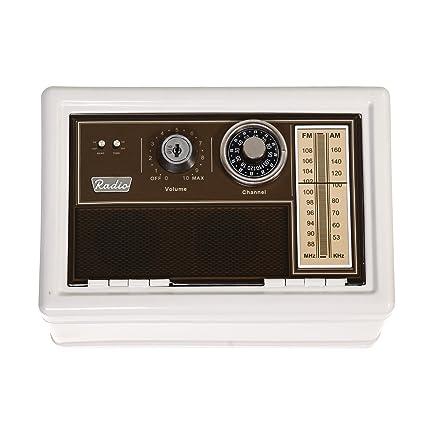 Antiguos clásicos retro marrón Diseño de radio caja fuerte de Metal con esfera y clave doble