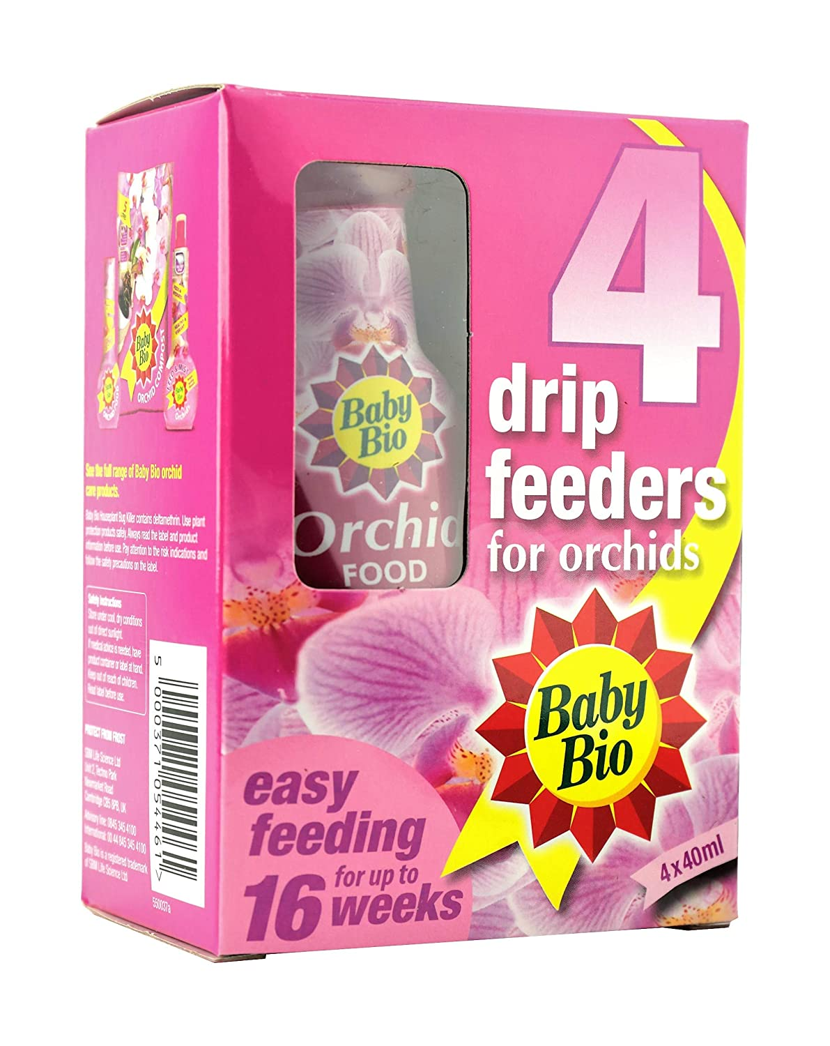 Baby Bio Orchid Drip Feeders Ready To Use Plant Feed 4 X 40 Ml