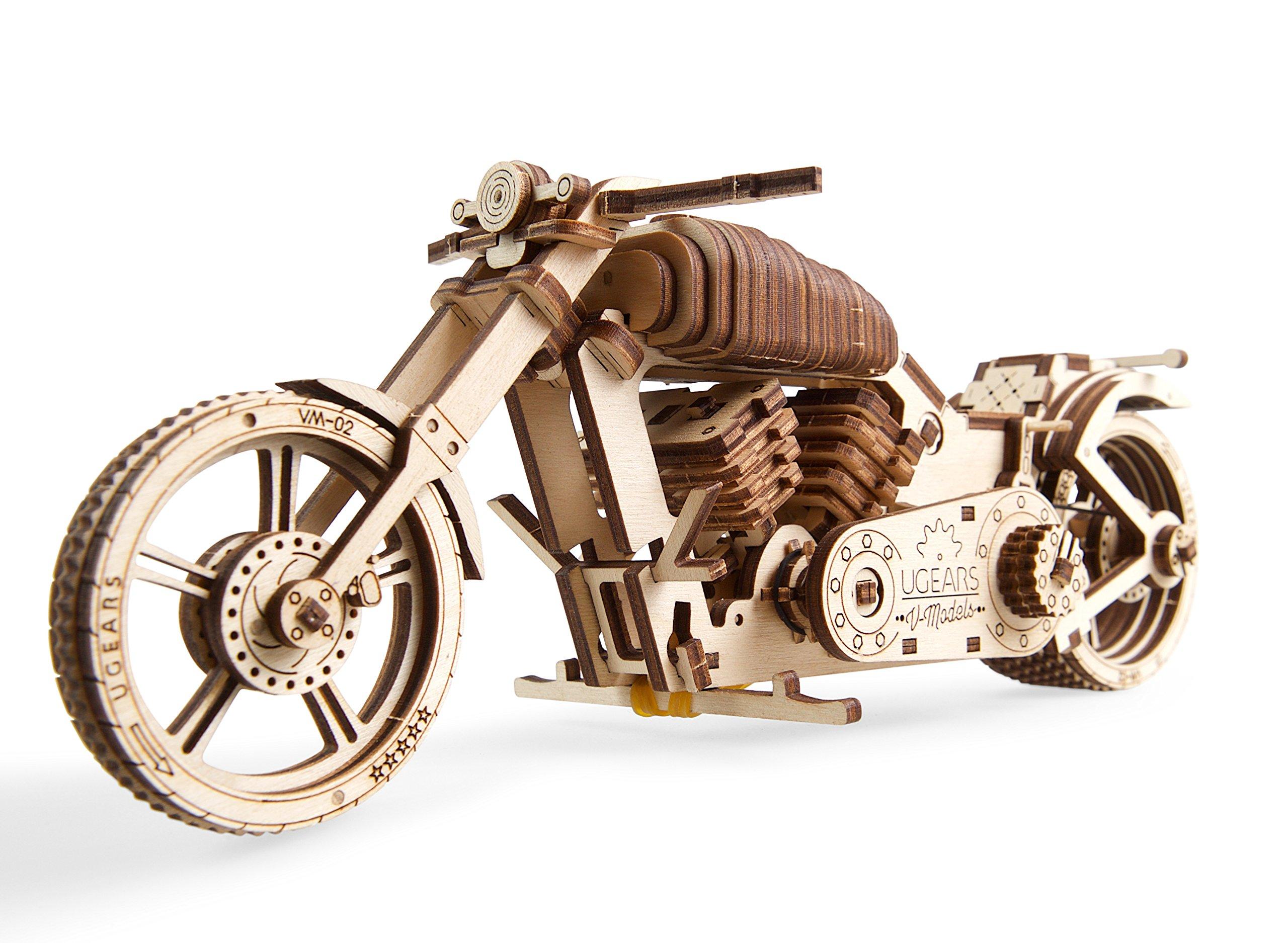 UGEARS Motocicleta VM-02 - Maqueta de Moto Mecánica - Puzzle 3D Madera - para Motoristas product image