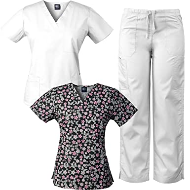 b57afde5011 Image Unavailable. Image not available for. Color: Medgear 3-Piece Combo, Eversoft  Scrubs Set with Printed Scrubs Top BPBK