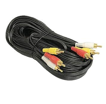 12 M Triple RCA estéreo doblaje Cable compuesto de vídeo (3 x RG59U)