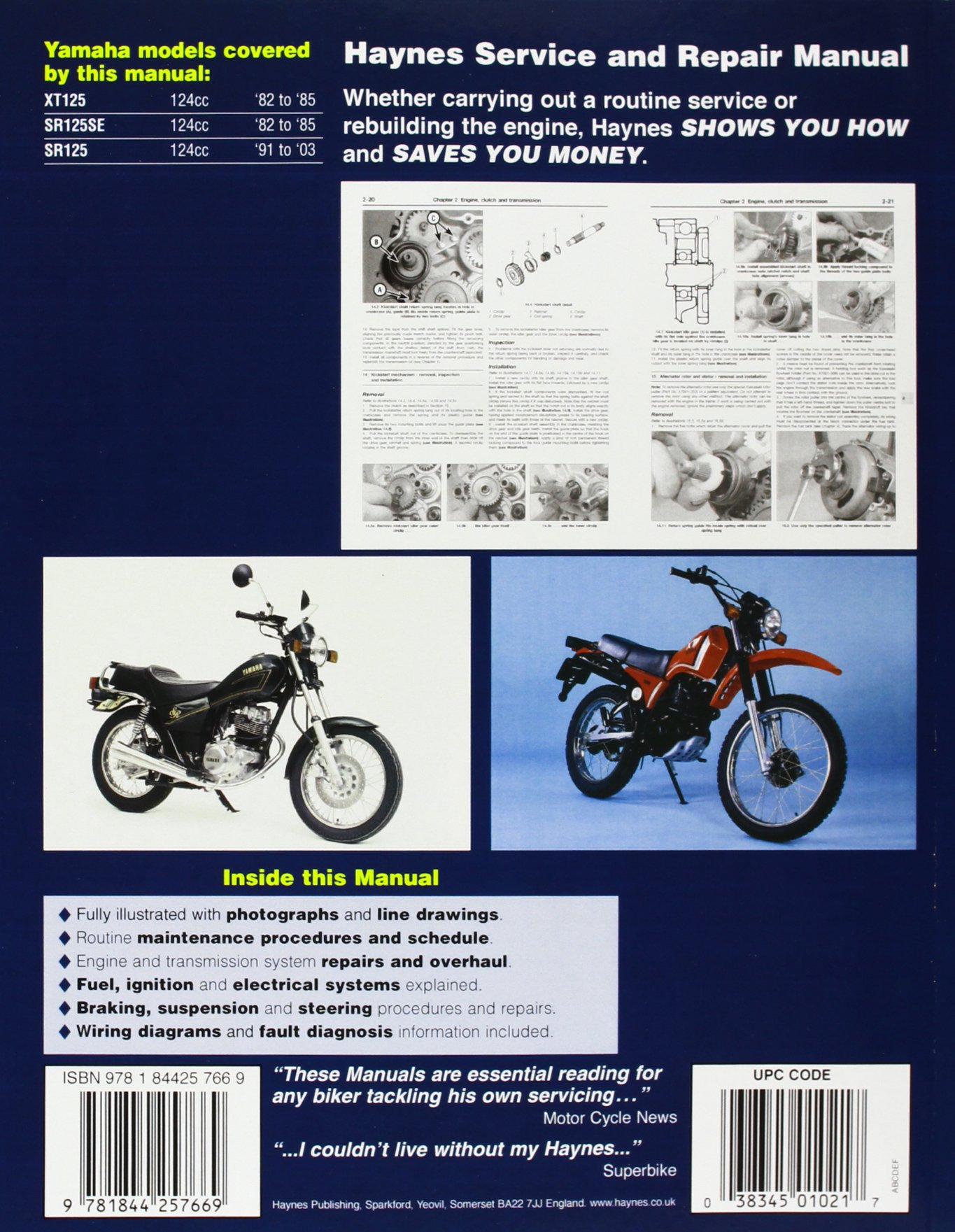 Yamaha Xt And Sr125 Singles Service Repair Manual 1982 To 2003 Reading Haynes Wiring Diagram Manuals Churchill Jeremy 9781844257669 Books