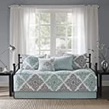 Madison Park Claire Daybed Size Quilt Bedding Set - Aqua, Grey , Leaf Geometric – 6 Piece Bedding Quilt Coverlets – Ultra Sof