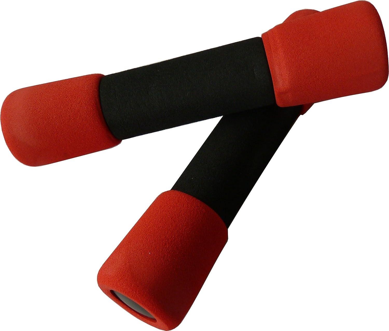 FIT el verano y rápido a la figura de ensueño. Entrenamiento con mancuernas 1 kg Soft. 2 x 1 kg Aerobic Fitness Pesas/cortas. Color: Rojo.