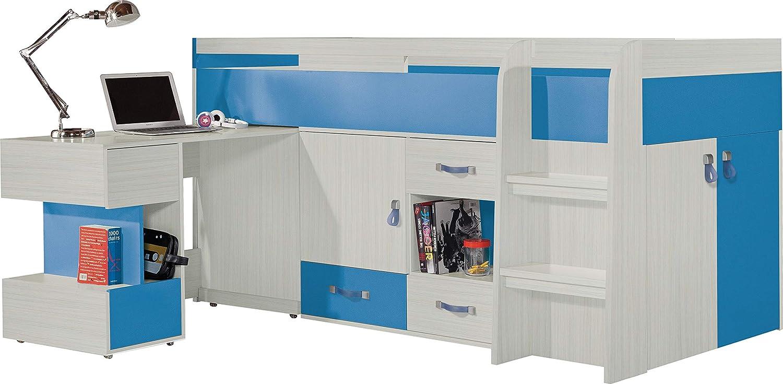 Esche Blau Hochbett, Zusammensetzung  KOMI System 21  Kinder Möbel-Set. Hochbett mit Schubladen und Regalen plus Schreibtisch (Ohne Matratze). (Esche Blau)