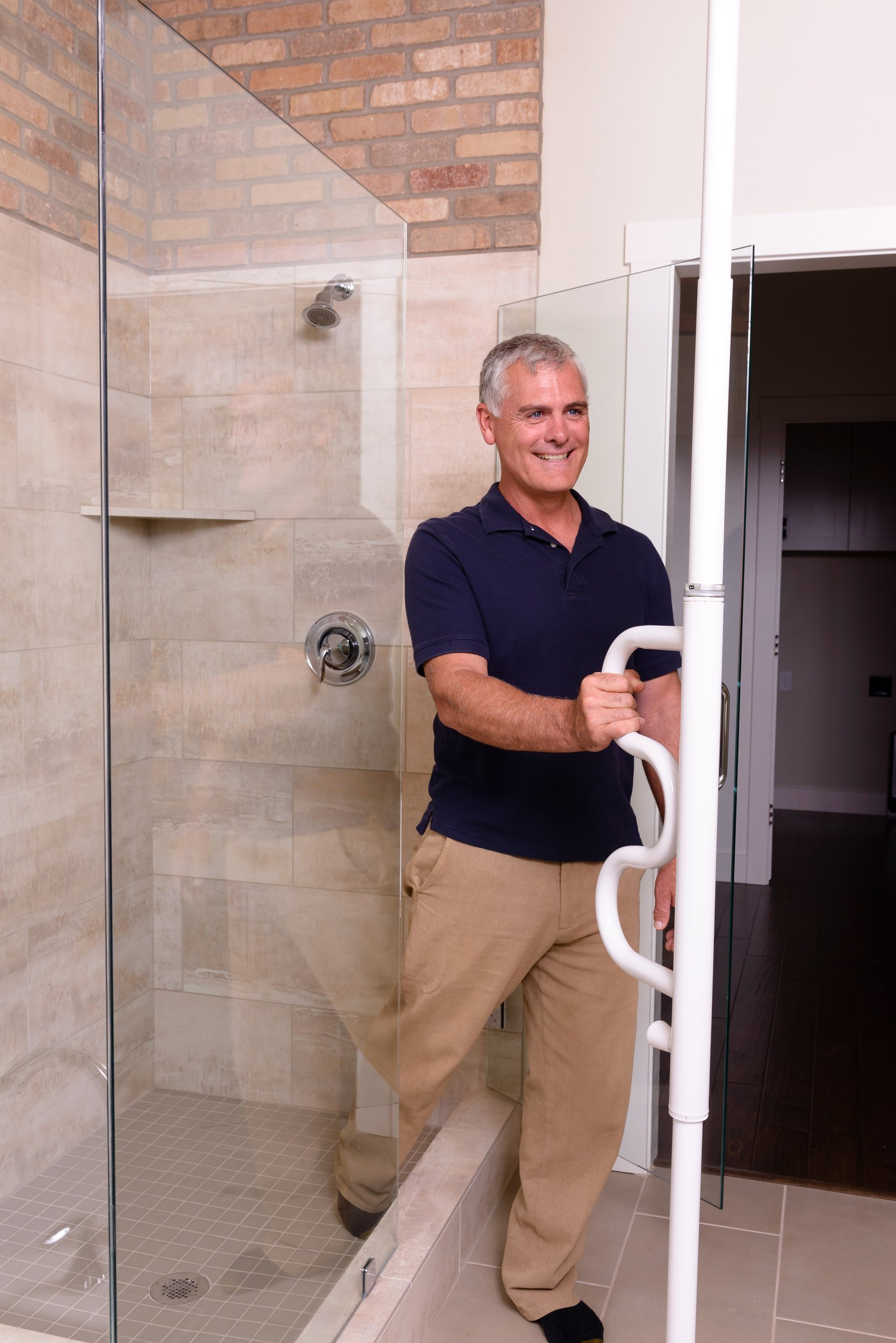 Stander Security Pole & Curve Grab Bar - Elderly Tension Mounted Transfer Pole + Bathroom Assist Grab Bar - Iceberg White by Stander (Image #4)