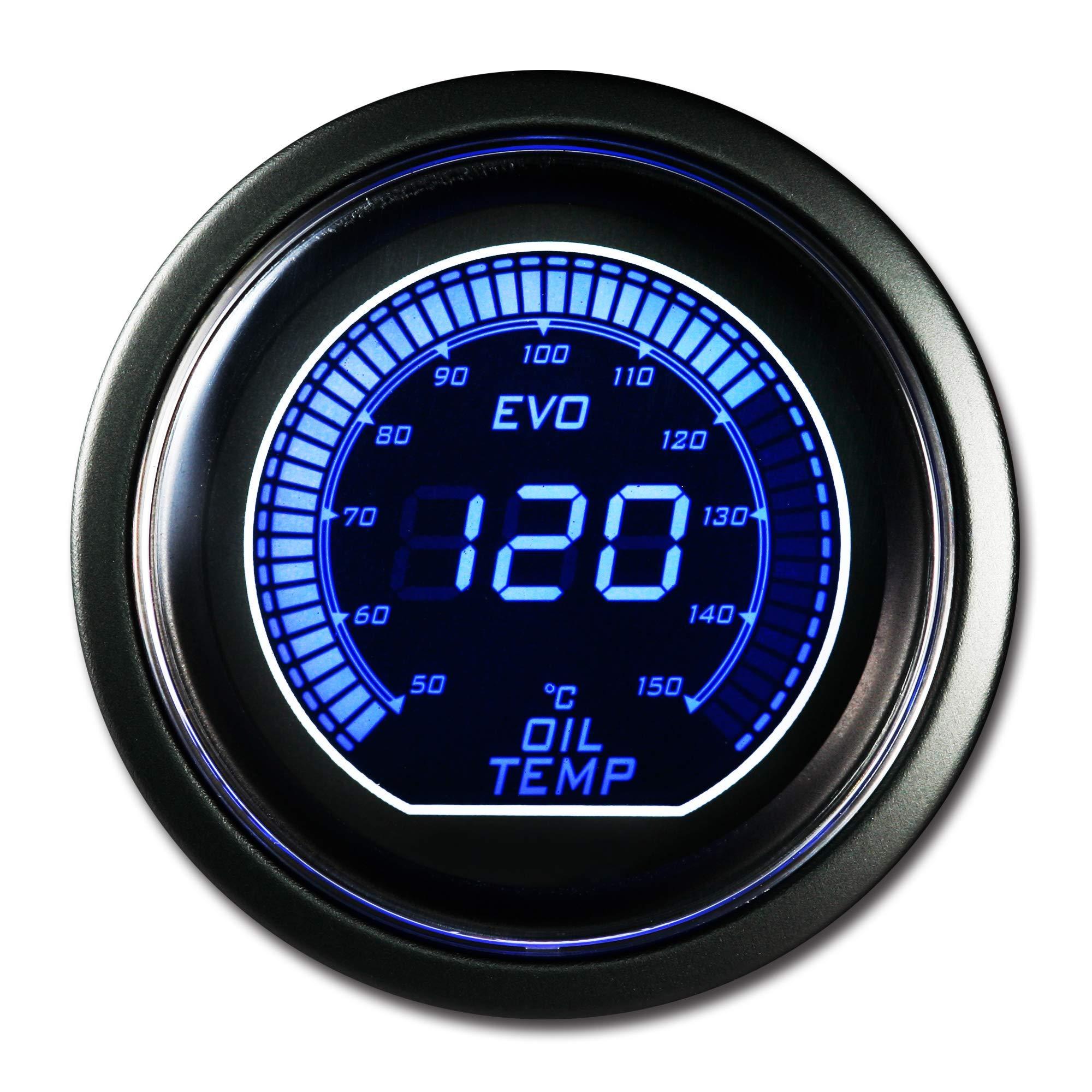 MOTOR METER RACING EVO Series Oil Temperature Gauge C Blue Red Backlit Included Sensor Kits by MOTOR METER RACING