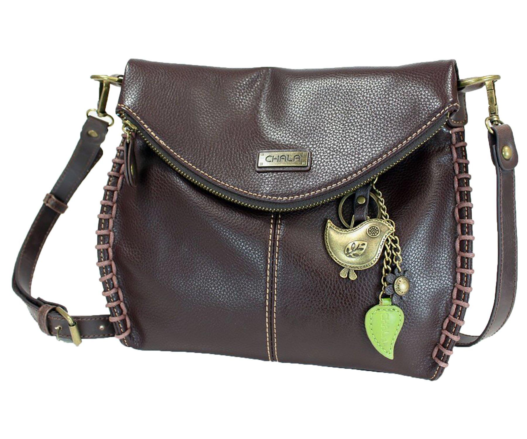Chala Charming Crossbody Bag with Zipper Flap Top and Metal Chain - Dark Brown - Bird