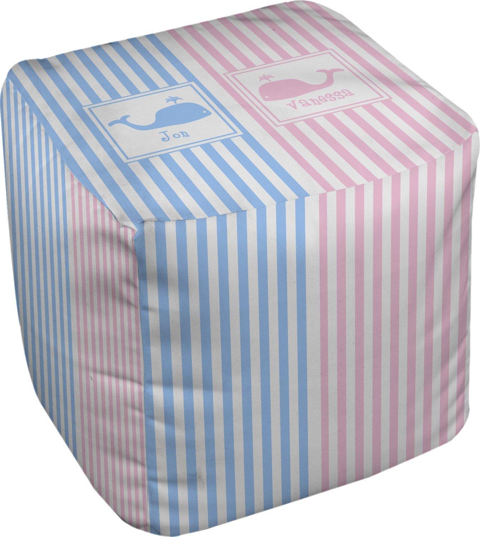 RNK Shops Striped w/Whales Cube Pouf Ottoman - 13'' (Personalized)