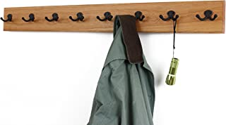 "product image for Solid Cherry Wall Mounted Coat Rack with Oil Rubbed Aged Bronze Coat Hooks - Double Style Wall Hooks - 4.5"" Utra Wide Rail– Made in The USA - (Cherry Stain - 4.5"" x 52"" - 10 Hooks)"