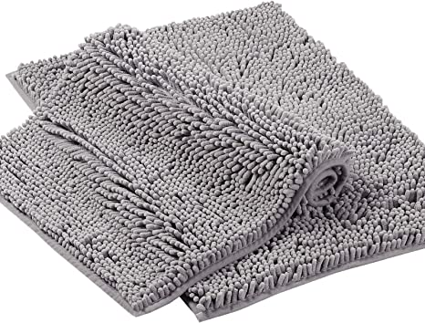 Amazon Com Grey Rugs For Bathroom Bath Mat Super Soft Bath Rug For Bathrooms Slip Resistant Shag Chenille Bath Rugs Chenille Plush Rugs For Powder Room Rugs For Entryway Ash Gray 17 X 24 17