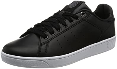 K-Swiss Men's Clean Court Fashion Sneaker, Black/White, ...