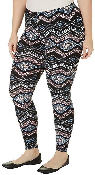 76b8a7c3e329a Derek Heart Juniors Plus Yummy Printed Leggings 3X Black/blue/pink ...